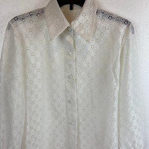 Vintage 60-70s Lace Blouse Long Sleeves Sz M-L